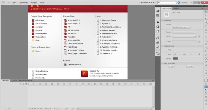 menu awal Adobe Flash CS 5